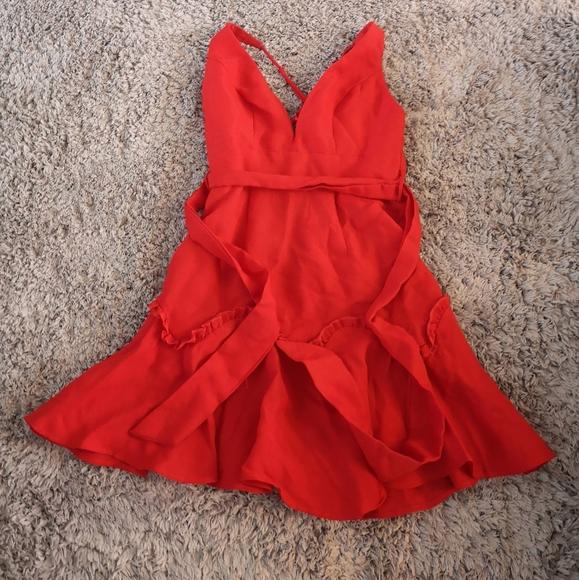 M Boutique by Selfie Leslie Red Ruffle Hem Dress